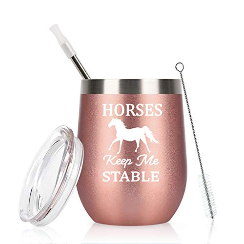 Horse Gifts For Women, Horses Keep Me Stable Wine Tumbler with Lid, Funny Birthday Christmas Gifts for Horse Lovers, Girls, Mom, Friends, Aunt, 12 Oz Insulated Stainless Steel Tumbler, Rose Gold