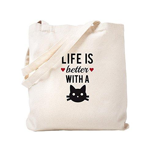 CafePress–Das Leben ist besser mit eine Katze, Text Design, Wort Art T–Natural Canvas Tote Bag, Stoff Einkaufstasche, canvas, khaki, S