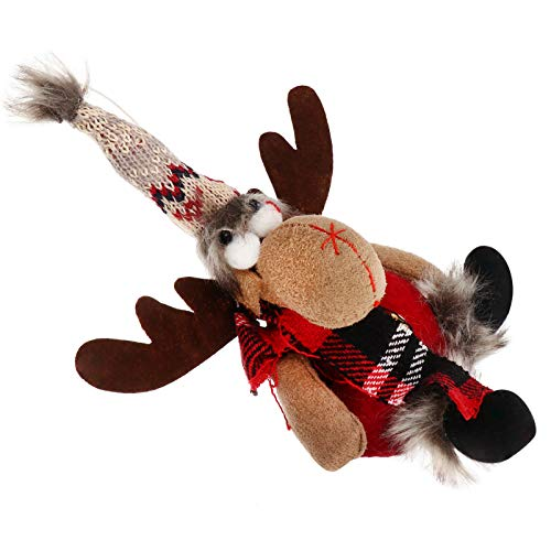 VALICLUD Adorable Christmas Reindeer Doll Cloth Plush Christmas Deer Figurine Christmas Tree Hanging Ornament for Christmas Tree Decoration Party Supply Favor Xmas Stocking Filler