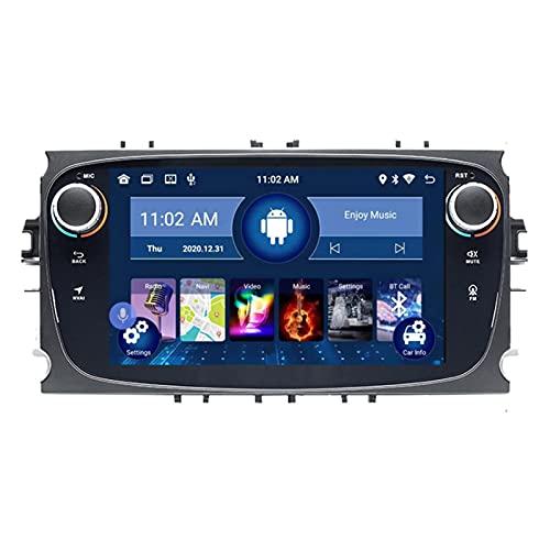 HTYQ Reproductor Multimedia De Navegación GPS para Automóvil De 7 Pulgadas para Ford Focus S-MAX Mondeo 9, Android 10.0 Reproductor De Radio De Audio De Navegación Doble DIN para Automóvil