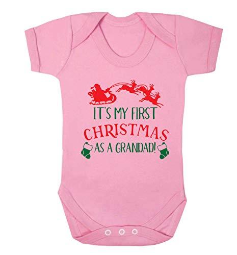 Flox Creative Baby Vest My First Christmas Grandad - Rose - S