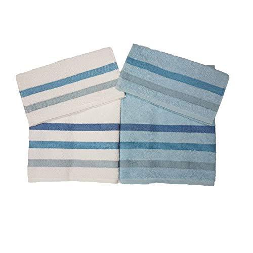 Bassetti Set 4 Pezzi, 2 Asciugamani Viso + 2 Asciugamani Ospiti Spugna da 420 g/mq, Variante 3