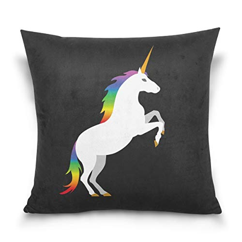 lucies Throw Pillow Case Decorative Cushion Cover Square Pillowcase, Hipst-er Unicorn Black Sofa Bed Pillow Case Cover(18x18inch) Twin Sides