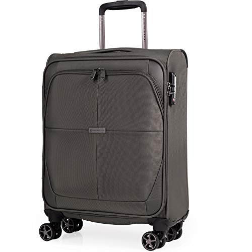 Soft Shell 21 Inch Suitcase with Wheels - Cabin Approved Jet2 EasyJet BA Luggage by Gino Ferrari| British Airways Fits 56x45x25 Hand Carry On | 21' 20 litres Light 2.1kg (Green, Small)