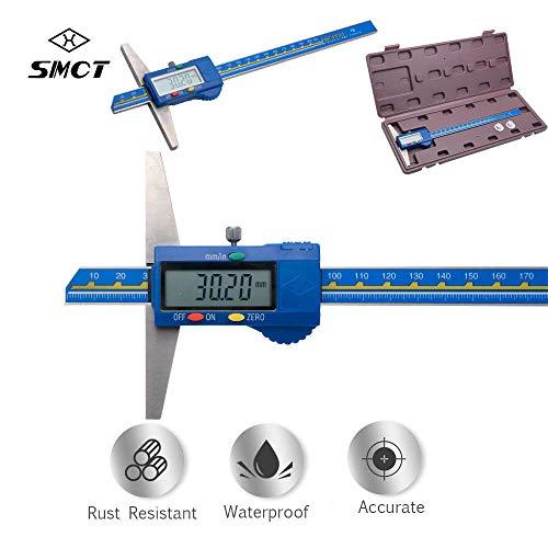 MASO - Medidor digital de profundidad 200 mm / 8 pulgadas digital profesional de profundidad calibre acero inoxidable, pulgadas/métrica, herramientas de medición de micrometros
