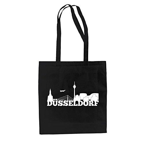Shirt Department - Jutebeutel - Düsseldorf Skyline schwarz-Weiss