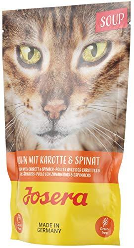 JOSERA Soup Huhn mit Karotte & Spinat (16 x 70 g) | getreidefreies Katzenfutter | extra Flüssigkeit für trinkfaule Katzen | Super Premium Nassfutter für ausgewachsene Katzen | 16er Pack