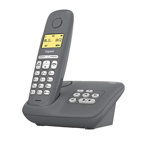 Gigaset A280A - Schnurloses Telefon mit Anrufbeantworter - brillante Audioqualität auch beim Freisprechen - intuitive, symbolbasierte Menüführung - Kurzwahltasten - Grafik-Display, dunkelgrau