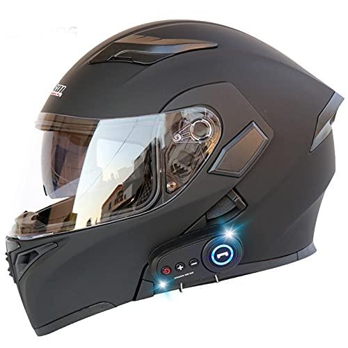 Casco para Motocicleta, Aprobado por Dot/ECE Abatible hacia Arriba Cara Completa Casco Modular con Bluetooth Antiniebla Doble Visera Suave Transpirable para Hombres Mujeres Adultos,D,XL61to62cm