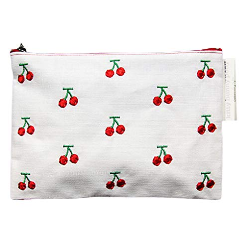 Cherry geborduurde make-up tas vrouwen reizen make-up toilettas, canvas make-up handtas, rits make-up tas rits canvas make-up handtas organisator