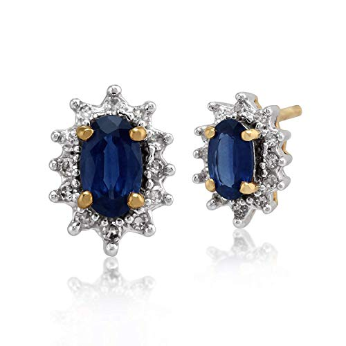 Gemondo Women 375 Gold 9ct Yellow Gold Oval Kanchanaburi Sapphire & Diamond Cluster Stud Earrings Blue