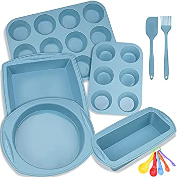 Silicone Nonstick Baking Pans Mold Tray Supplies Tools Bakeware Set BPA Free Food Grade for Muffin Pizza Tiramisu Loaf Bread Cake Pan Cookie Sheets Cookware Set for Oven