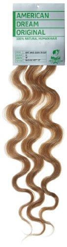 American Dream - A4/QFC12/18/14 - 100 % Cheveux Naturels - Douce Ondultation - Pièce Unique Extensions à Clipper - Couleur 14 - Blond Cendré Naturel - 46 cm