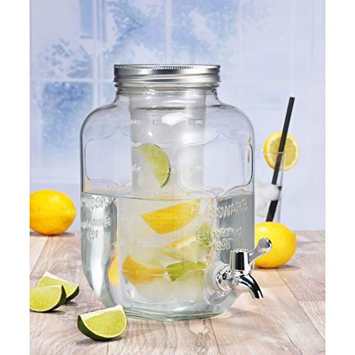Getränkespender 4 Liter aus Glas mit Zapfhahn - Wasserspender - mit Deckel - Fruchteinsatz - Infuser - Eiseinsatz - Einmachglas Design - Retro - Saftspender - Bowlegefäß - Hahn - Dispenser - Wasser