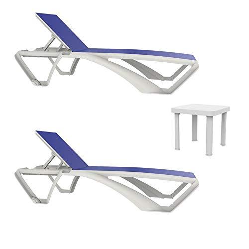 resol set de 2 tumbonas jardín exterior Marina estructura blanca, textilene azul y 1 mesa auxiliar Andorra blanca
