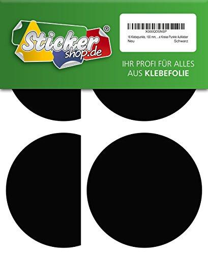16 Klebepunkte, 100 mm, schwarz, aus PVC Folie, wetterfest, Markierungspunkte Kreise Punkte Aufkleber