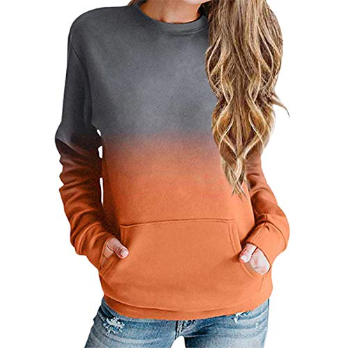 zhanxin Women Hoodie Sweatshirt Autumn Gradient Long Sleeve Loose Pullover Tops with Pocket Tie-Dye Shirt Casual Streetwear Orange