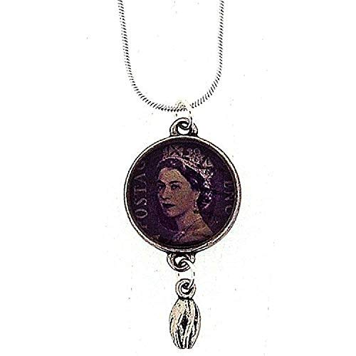The Olivia Collection Silvertone Purple Postage Stamp Drop Pendant on 18'' Chain