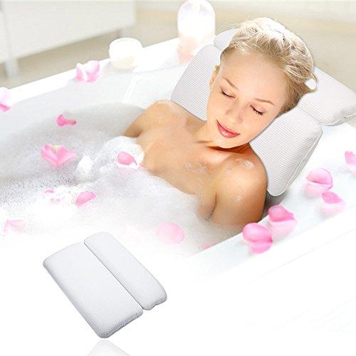 Aimego badkussen badkussen spa kussen waterdicht met 7 zuignappen antislip ondersteuning voor hoofd hals en rug wit