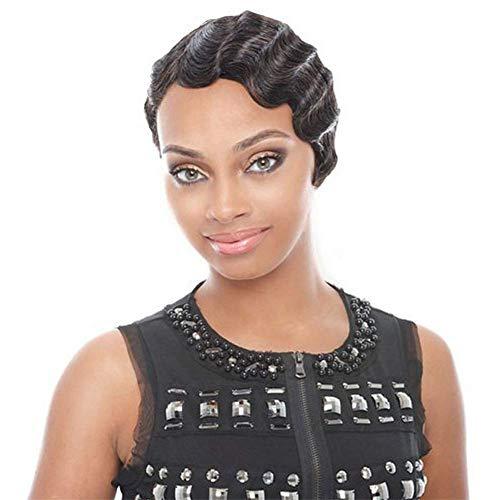 BJYG Afro Perruques Courtes pour Femmes Noires Pixie Cut Noir Bouclés Cheveux Synthétiques Cheveux Complet Perruque Naturel Mode Cosplay Party Perruques 8 '80g
