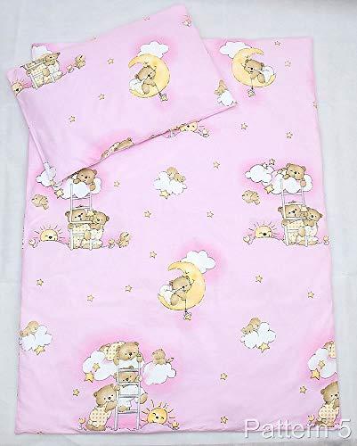 2 Stück Baby Kinder Quilt Bettdecke & Kissen Set 80x70 cm passend für Kinderbett oder Kinderwagen Muster 5