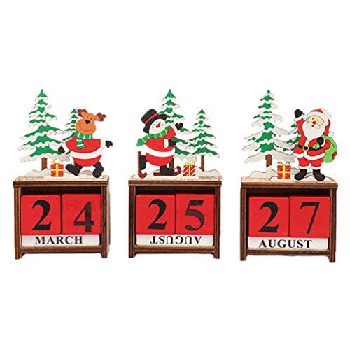 Amosfun 3pcs Weihnachten Adventskalender Desktop Dekor Holzblock Santa Schneemann Rentier Figur für Weihnachten Urlaub Party Tischdekoration