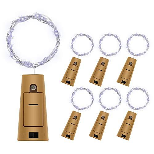 6 Stück LED Flaschenlicht Weiß, BizoeRade 1M 20LED Batteriebetriebene Lichterkette Kupferdraht Weinflasche Lichter mit Kork für DIY Party Hochzeit Weihnachten Stimmung Lichter Halloween