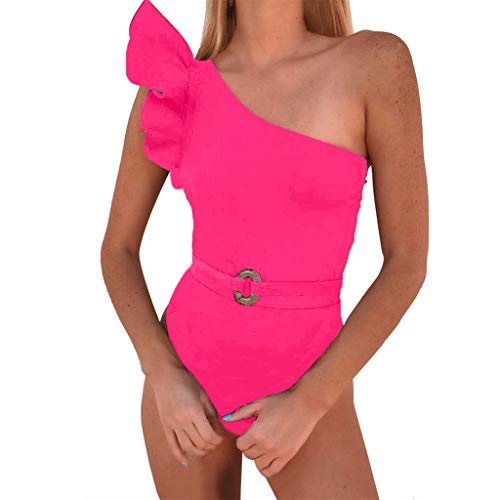 Women's Ruffle One Shoulder Swimsuit Mitiy One Piece Asymmetric Swimwear Monokinis Bathing Suits