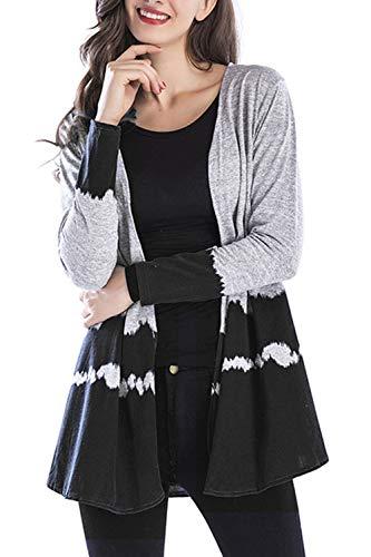 futurino Women's Casual Gradient Color Knit Open Front Long Cardigan Outwear Coats