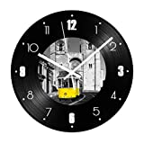 GYJCD Vintage Building Record Reloj De Pared Bus Theme Mute Retro Vinyl Living Room Relojes Digitales Decorativos Decoración De Pared
