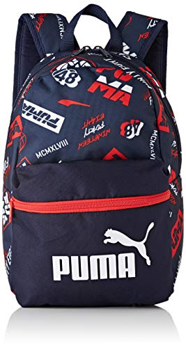 Puma Phase Small Backpack - Mochilla, Unisex niños, Peacoat-AOP, OSFA