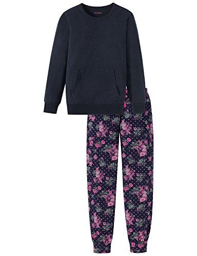 Schiesser Mädchen Anzug lang Zweiteiliger Schlafanzug, Blau (Nachtblau 804), 152 (Herstellergröße: S)