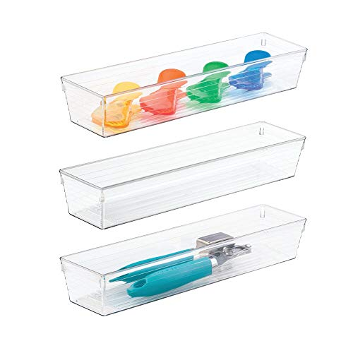 """mDesign Plastic Kitchen Cabinet Drawer Organizer Tray - Storage Bin for Cutlery, Serving Spoons, Cooking Utensils, Gadgets - BPA Free, Food Safe, 12"""" Long, 3 Pack - Clear"""