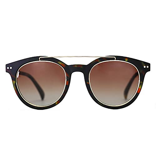 ZENOTTIC Gafas De Sol Redondas Polarizadas Ligeras Clásicas De doble Puente Estilo de Diseñador para Hombres y Mujeres