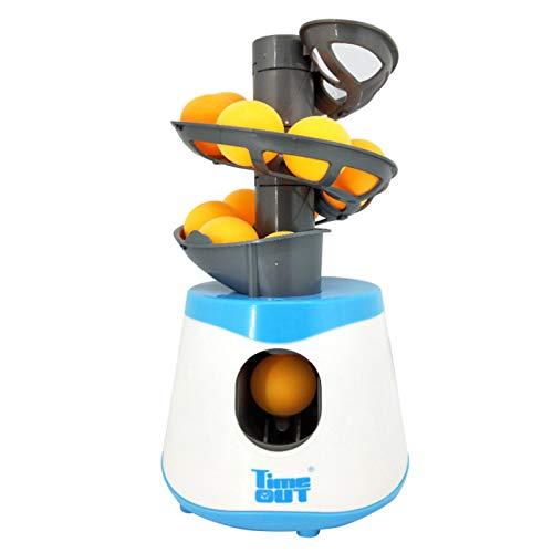 AUTUUCKEE Máquina electrónica de lanzamiento de béisbol con 10 bolas, máquina de robot de tenis de altura ajustable, robots de tenis de mesa para entrenamiento (azul y blanco)