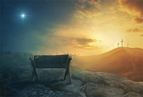 Leowefowa 7x5ft Jesus Christ Backdrop Vinyl Wildland Nativity Scene Photography Background Shabby Manger Remote Crucifixes Bright Meteor Church Sanctuary Decor Bible Story Wallpaper