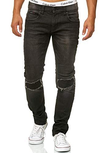 Indicode Herren Nevada Jeanshose aus Baumwolle mit Stretch-Anteil | Herrenjeans Destroyed Look Denim Stretch Jeans Hose Herrenhose Regular fit Straight Men Pants f. Männer Black 30/34
