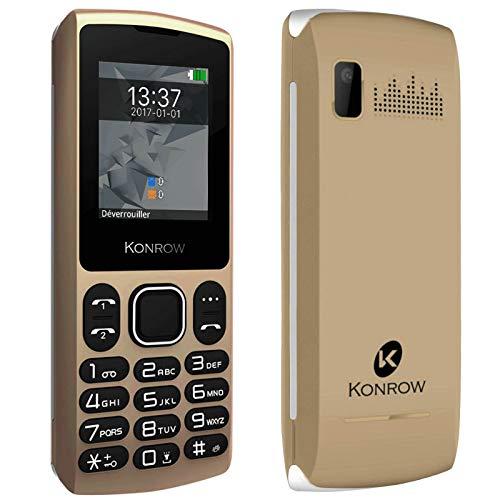Konrow Chipo3 - Teléfono móvil, doble SIM, teclado físico, luminoso, pantalla de 1,8 pulgadas, conectividad Bluetooth 2.1, cámara de fotos VGA, linterna radio FM con auriculares