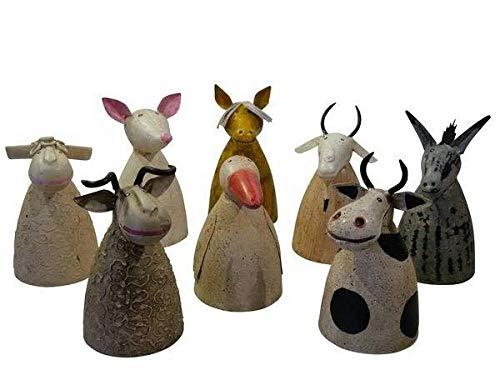 Hochwertige Zaunhocker im Sparset – Pfostenhocker/Zaunfigur Metall – Gartendekoration Zaungucker – Deko Tierfiguren/Gartenfiguren (Bauernhoftiere - 8er Set)