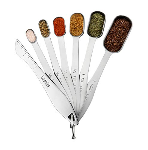 Stainless Steel Metal Measuring Spoons,Set of 6 with bonus Leveler