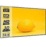 Egiant プロジェクタースクリーン 120インチ 16:9 HD 折りたたみ式 折り目防止 3レイパッド入りポータブル映画スクリーン ホームシアター 屋外 公共プレゼンテーション用 両面プロジェクション対応 巾着袋付き
