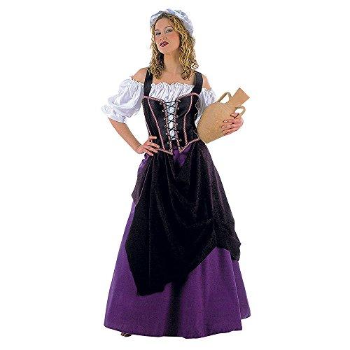 Logeuse Dames Costume Robe médiévale Vierge bierrière 4 pièces avec Capuche XS-XL - XL