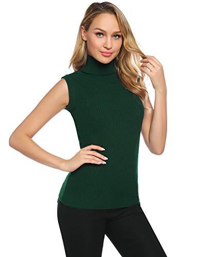 Abollria Jersey Cuello Alto sin Mangas para Mujer Elegantes Suéteres de Canalé Turtleneck Basic Pullover de Punto para Primavera Otoño Invierno