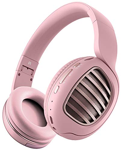 Aduro Rechargeable Bluetooth Wireless Headphones with Microphone Foldable Over The Ear Headphones with Mic Keynote Wireless Headset - Pink/Rose Gold