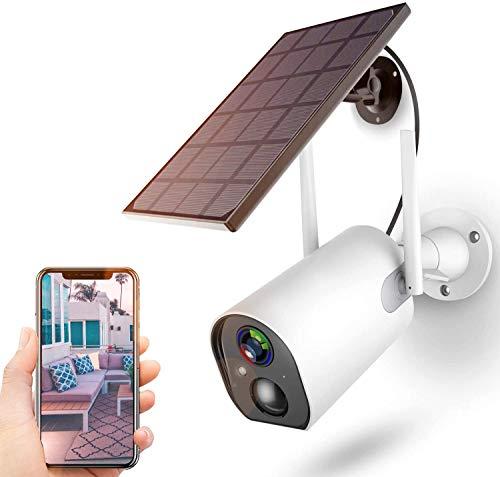 Überwachungskamera Akku Solarpanel,1080P Kabellos Outdoor WLAN Kamera 10400mAh Batterie,4DB Wireless Antenna,PIR Bewegungserkennung,2-Wege-Audio,Nachtsicht,IP65 wasserdichte