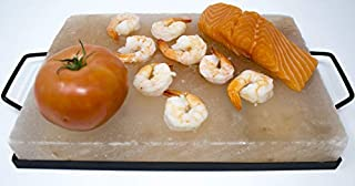 """Himalite Himalayan Pink Salt Cooking Block and Tray Set 12"""" x 8"""" x 1.5"""" for Cooking, Grilling, Cutting and Serving with Metal Tray Himalayan Rock Salt"""
