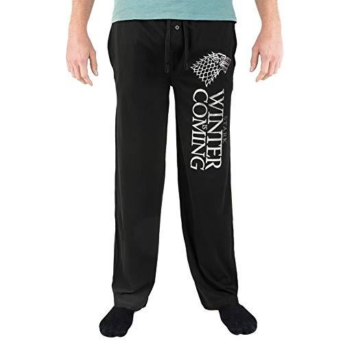 Game of Thrones HBO Stark Winter is Coming Foil Logo Pajama Sleep Pants Licensed New (Medium) Black