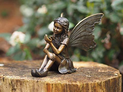 H. Packmor GmbH - Figura de bronce sentado, hada con mariposas, decoración para casa, jardín, 16 x 12 x 10 cm