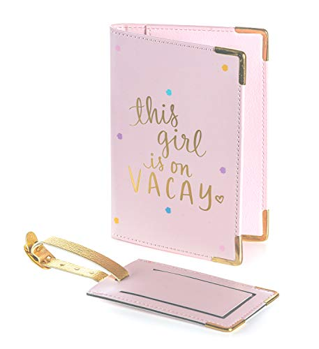 """Dayna Lee Passport Cover Holder And Luggage Tag Set In Gift Box, """"This Girl Is On Vacay"""""""