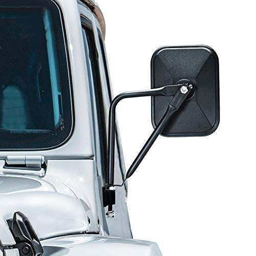 CALBEAU Jeep Mirrors, A Pair of Square Adventure Side View Mirrors For Almost All Jeep Wrangler CJ YJ TJ JK JL & Unlimited, 2021 Upgraded Quicker Install Door Hinge Mirror for Safe Doors Off Driving